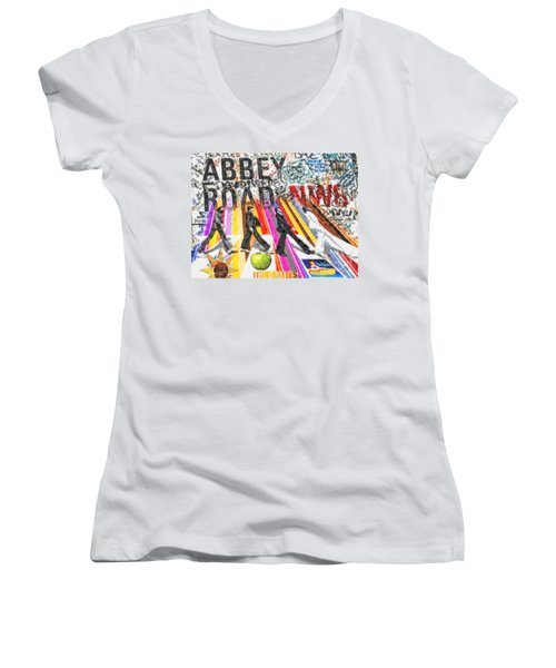 Abbey Road Women's V-Neck T-Shirt (Junior Cut) by Mo T