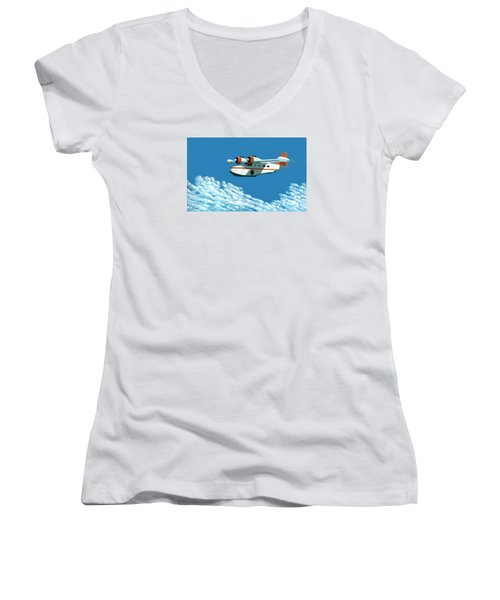 Women's V-Neck T-Shirt (Junior Cut) featuring the painting Above It All  The Grumman Goose by Gary Giacomelli