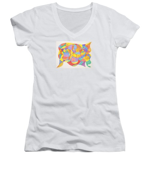 Women's V-Neck T-Shirt (Junior Cut) featuring the painting Faces And Places by Stormm Bradshaw