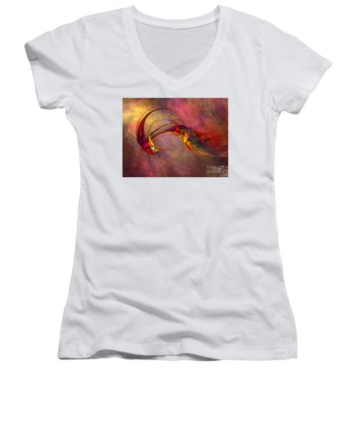 Abstract Art Print Hummingbird Women's V-Neck