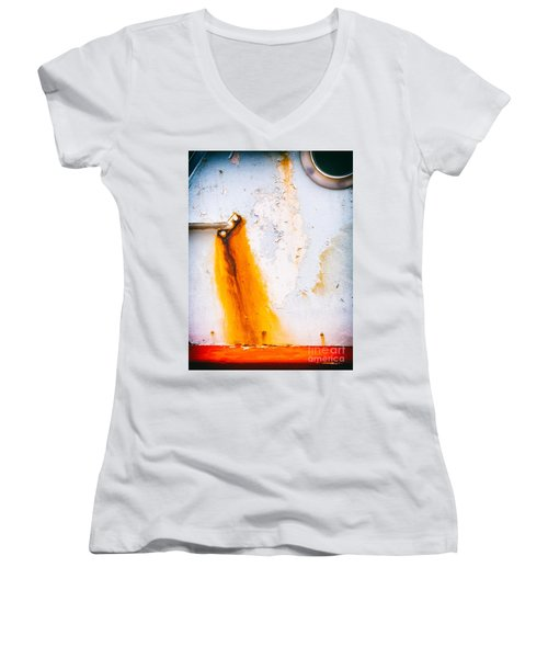 Women's V-Neck T-Shirt (Junior Cut) featuring the photograph Abstract Boat Detail by Silvia Ganora