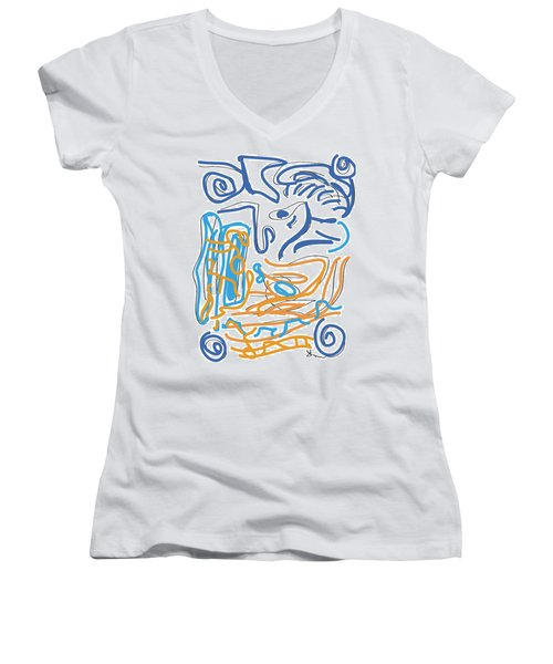 Abstract Digital Women's V-Neck (Athletic Fit)