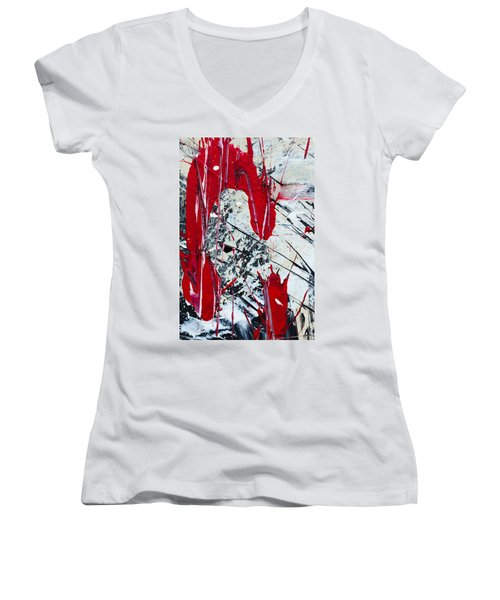 Abstract Original Painting Untitled Nine Women's V-Neck