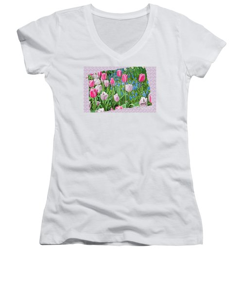 Abstract Spring Floral Fine Art Prints Women's V-Neck