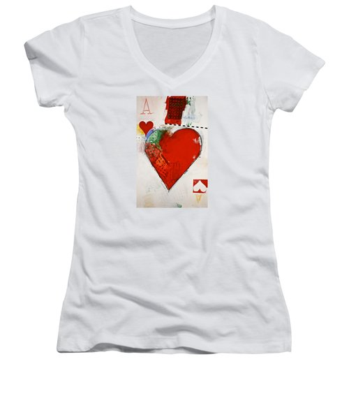 Ace Of Hearts 8-52 Women's V-Neck T-Shirt (Junior Cut) by Cliff Spohn