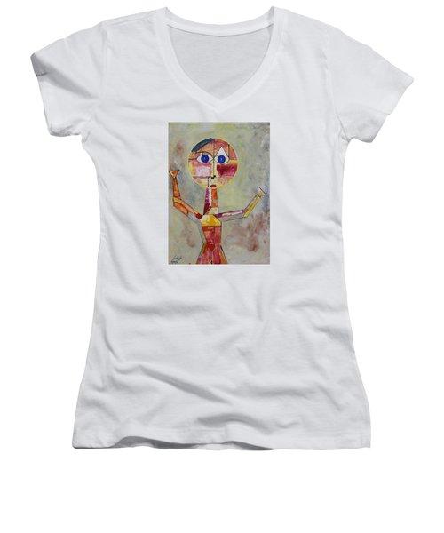 Acrylic Msc 175  Women's V-Neck T-Shirt (Junior Cut) by Mario Sergio Calzi