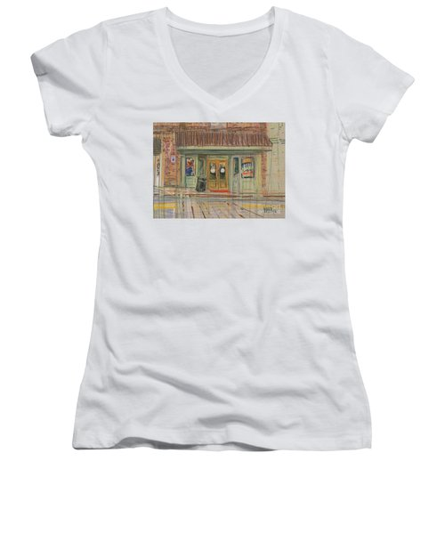 Women's V-Neck T-Shirt (Junior Cut) featuring the painting Acworth Shop by Donald Maier