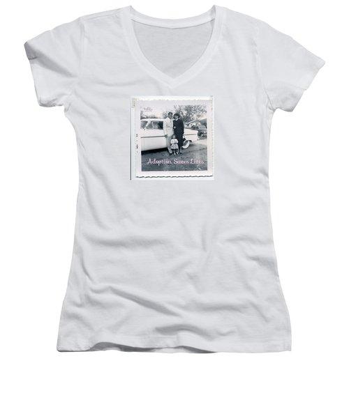 Adoption Saves Lives Women's V-Neck T-Shirt