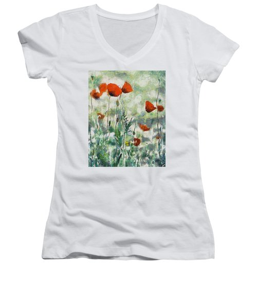 Women's V-Neck T-Shirt (Junior Cut) featuring the painting Affection by Joe Misrasi