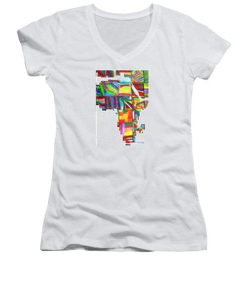 Women's V-Neck T-Shirt (Junior Cut) featuring the painting African Brightness by Mudiama Kammoh