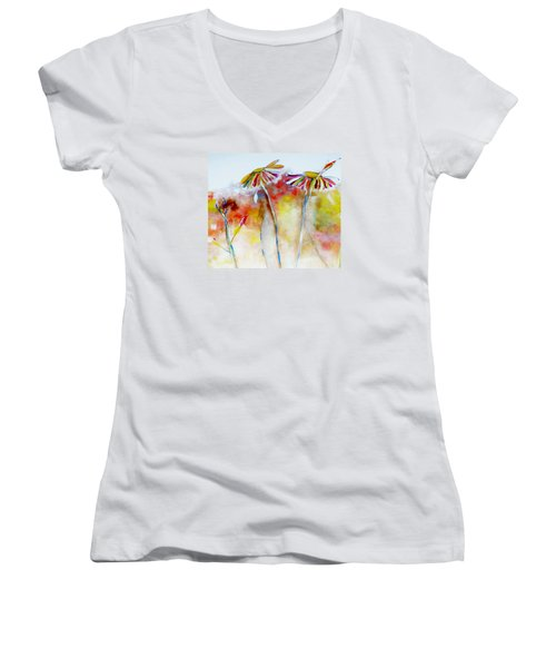 Women's V-Neck T-Shirt (Junior Cut) featuring the painting African Daisy Abstract by Lisa Kaiser