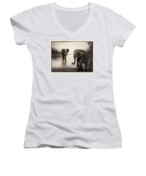 African Elephants At Sunset Women's V-Neck T-Shirt