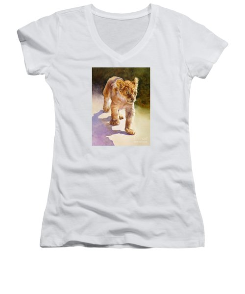 Women's V-Neck T-Shirt (Junior Cut) featuring the painting African Lion Cub by Bonnie Rinier