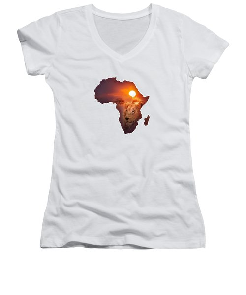 African Wildlife Map Women's V-Neck T-Shirt