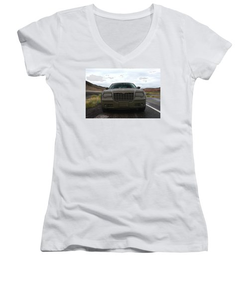 Aftermath Of The Mud Flood And Suddenly Things Went Dark Women's V-Neck T-Shirt (Junior Cut) by Lon Casler Bixby