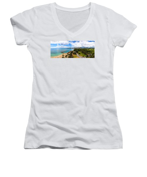 Afternoon On Waikiki Women's V-Neck (Athletic Fit)