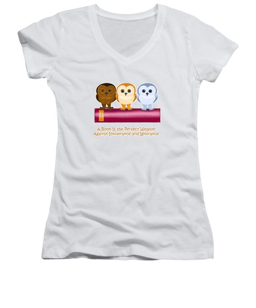 Women's V-Neck T-Shirt (Junior Cut) featuring the painting Against Ignorance by Leena Pekkalainen