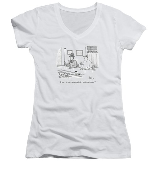 Ahab Speaks To A Man In A Bar Women's V-Neck