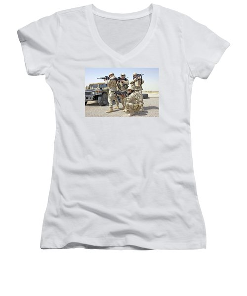 Women's V-Neck T-Shirt (Junior Cut) featuring the photograph Air Force Squadron by Science Source