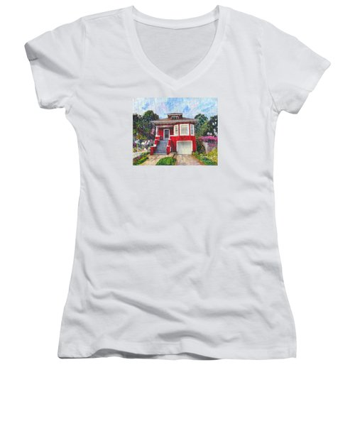 Women's V-Neck T-Shirt (Junior Cut) featuring the painting Colonial Revival High Basement Cottage 1907  by Linda Weinstock