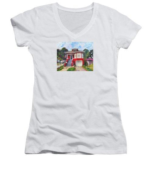 Colonial Revival High Basement Cottage 1907  Women's V-Neck T-Shirt