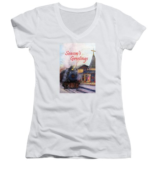 All Aboard At The New Hope Train Station Card Women's V-Neck T-Shirt (Junior Cut) by Loretta Luglio