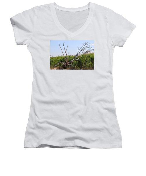 All Alone Women's V-Neck T-Shirt (Junior Cut) by Paul SEQUENCE Ferguson             sequence dot net