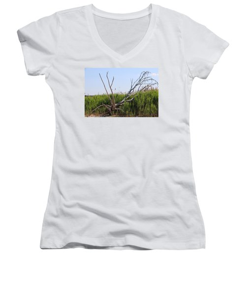 Women's V-Neck T-Shirt (Junior Cut) featuring the photograph All Alone by Paul SEQUENCE Ferguson             sequence dot net