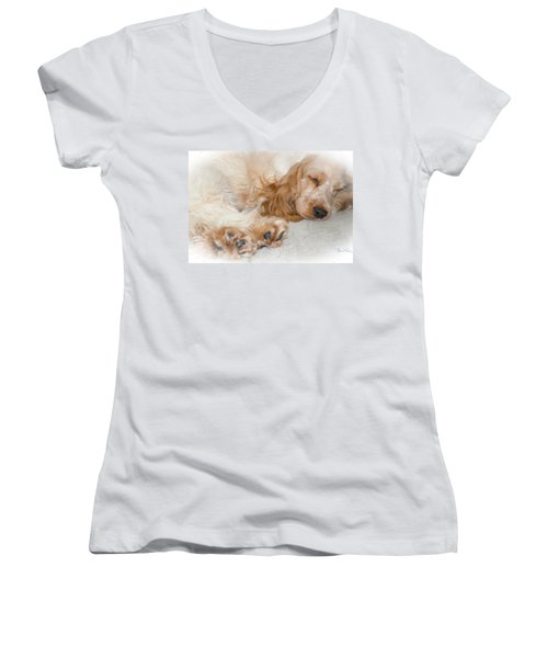 All Feet And Ears Women's V-Neck T-Shirt (Junior Cut) by Susan Molnar