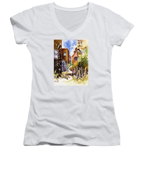 Women's V-Neck T-Shirt (Junior Cut) featuring the painting Alleyway Charm 2 by Rae Andrews