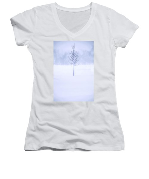 Alone In The Snow Women's V-Neck T-Shirt (Junior Cut) by Andrew Soundarajan