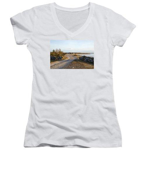Along The Coast Women's V-Neck T-Shirt (Junior Cut) by Kennerth and Birgitta Kullman