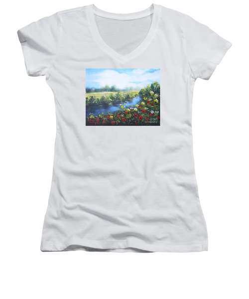 Women's V-Neck T-Shirt (Junior Cut) featuring the painting Along The Poppy Valley by Vesna Martinjak
