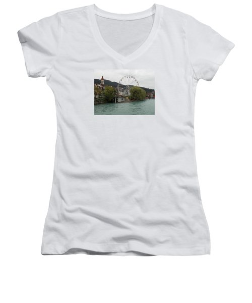 Along The River In Thun Women's V-Neck (Athletic Fit)