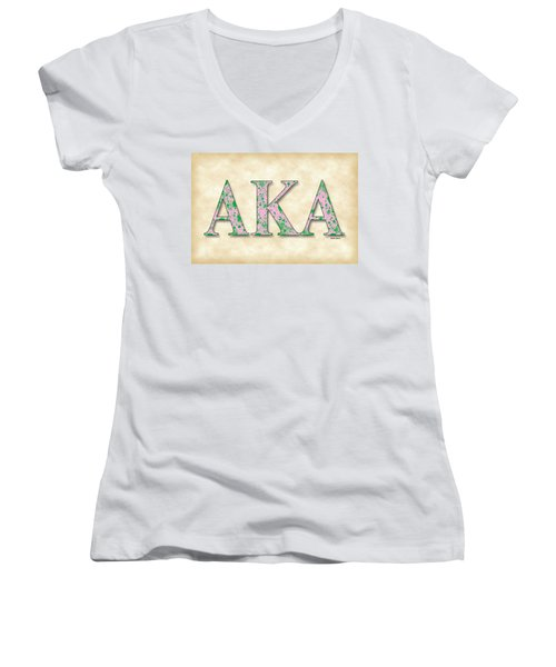 Alpha Kappa Alpha - Parchment Women's V-Neck T-Shirt (Junior Cut) by Stephen Younts