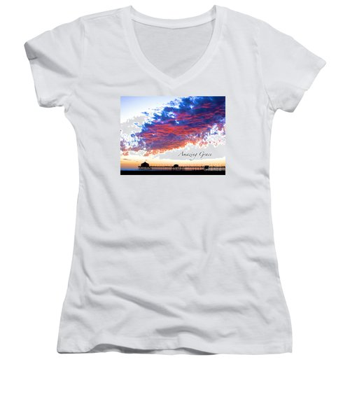 Amazing Grace Fire Sky Women's V-Neck T-Shirt