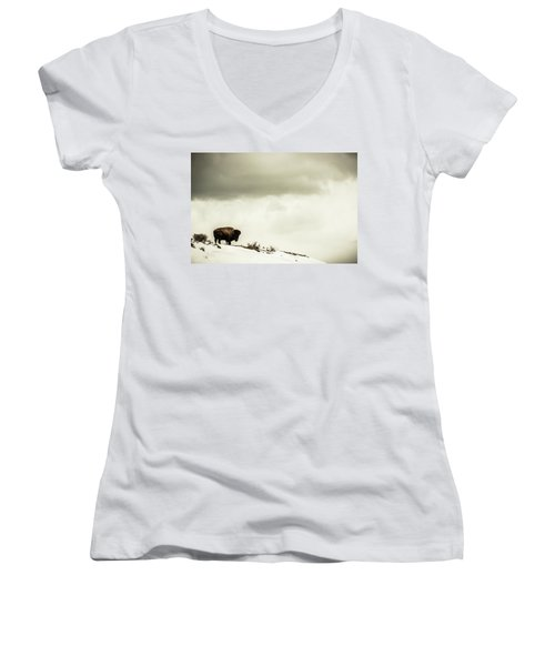 American Bison On The Top Of A Snowy Women's V-Neck