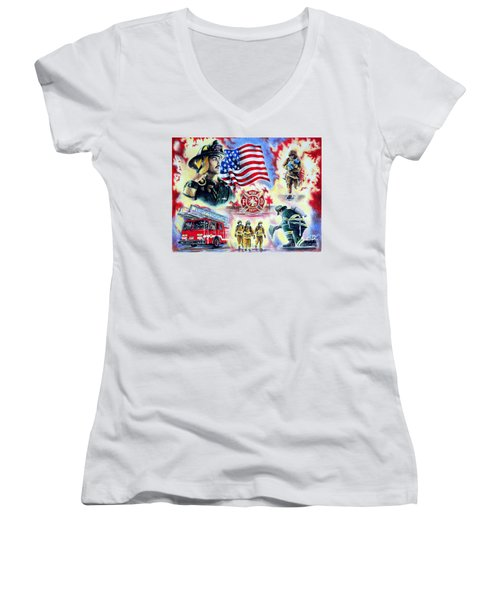 American Firefighters Women's V-Neck (Athletic Fit)