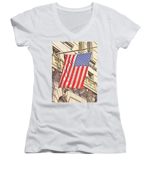 Women's V-Neck T-Shirt (Junior Cut) featuring the photograph American Flag N.y.c 1 by Joan Reese