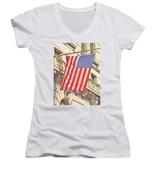 American Flag N.y.c 1 Women's V-Neck T-Shirt (Junior Cut) by Joan Reese