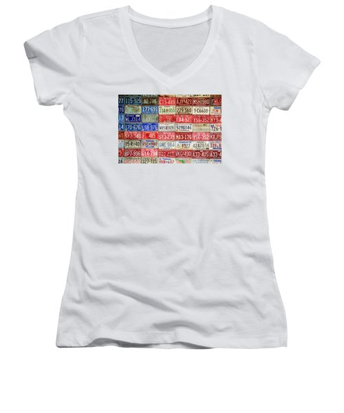 Women's V-Neck T-Shirt (Junior Cut) featuring the photograph American Transportation by Steven Bateson