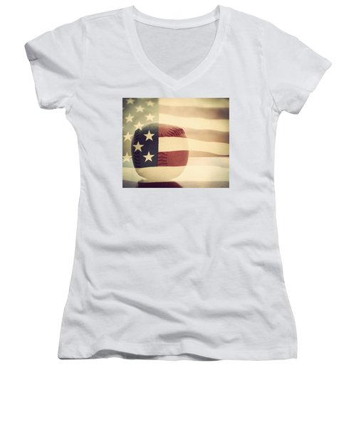 Americana Baseball  Women's V-Neck T-Shirt (Junior Cut) by Terry DeLuco