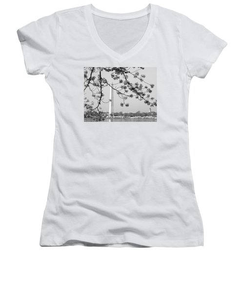 Amongst The Cherry Blossoms Women's V-Neck T-Shirt (Junior Cut) by Emmy Marie Vickers