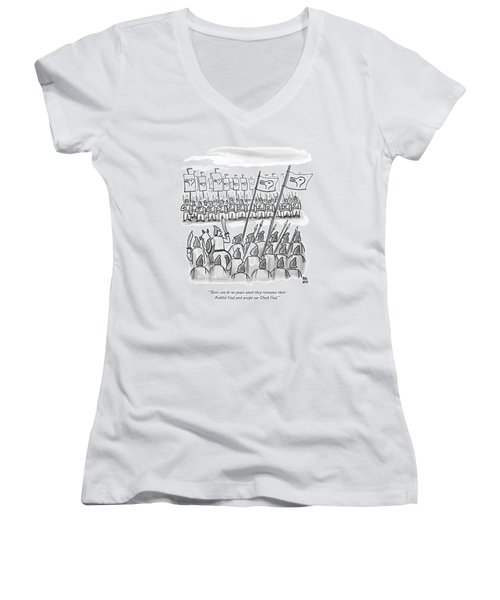 An Army Lines Up For Battle Women's V-Neck