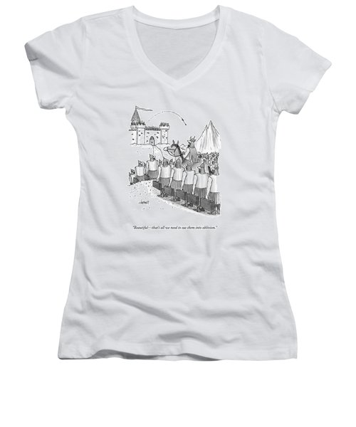 An Army Of Vikings Hold Briefcases Women's V-Neck