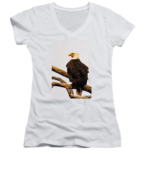 Women's V-Neck T-Shirt (Junior Cut) featuring the photograph An Eagle's Perch by Polly Peacock