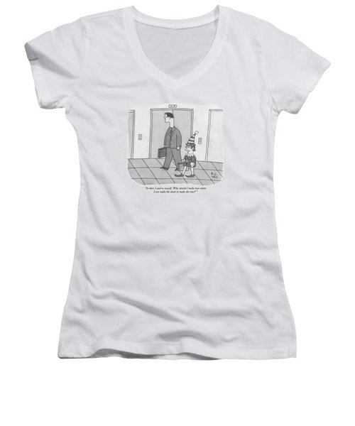 An Elf Carrying Briefcase Says To The Man Women's V-Neck (Athletic Fit)
