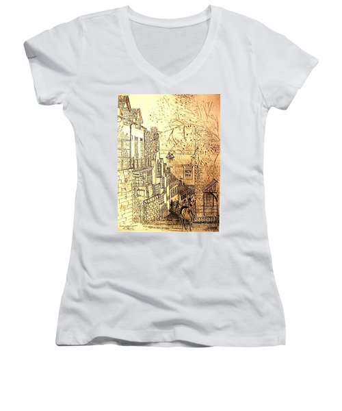 An English Fishing Village Women's V-Neck T-Shirt