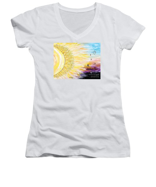 Anche Per Te Sorgera' Il Sole Women's V-Neck T-Shirt (Junior Cut) by Loredana Messina