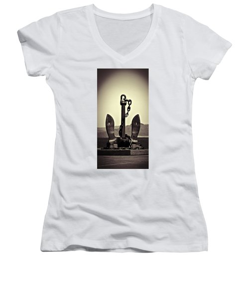 Sea Women's V-Neck T-Shirt (Junior Cut) featuring the photograph Anchor  by Aaron Berg